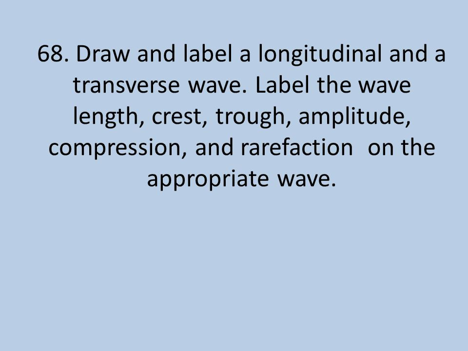 68. Draw and label a longitudinal and a transverse wave