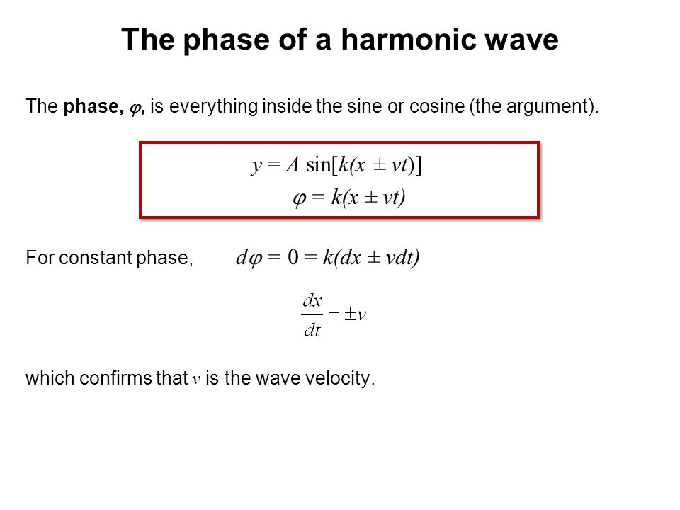 The phase of a harmonic wave