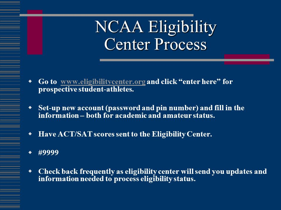 NCAA Eligibility Center Process