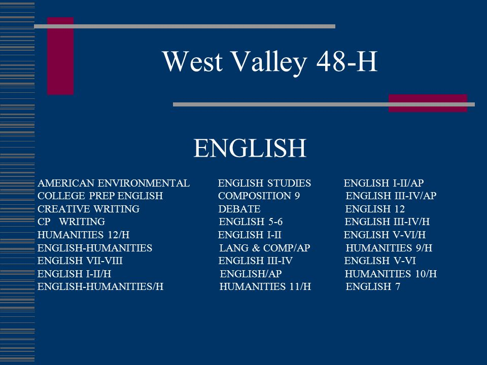 West Valley 48-H ENGLISH. AMERICAN ENVIRONMENTAL ENGLISH STUDIES ENGLISH I-II/AP.
