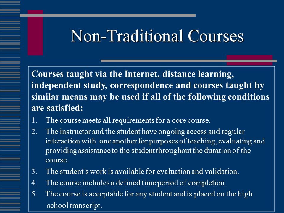Non-Traditional Courses