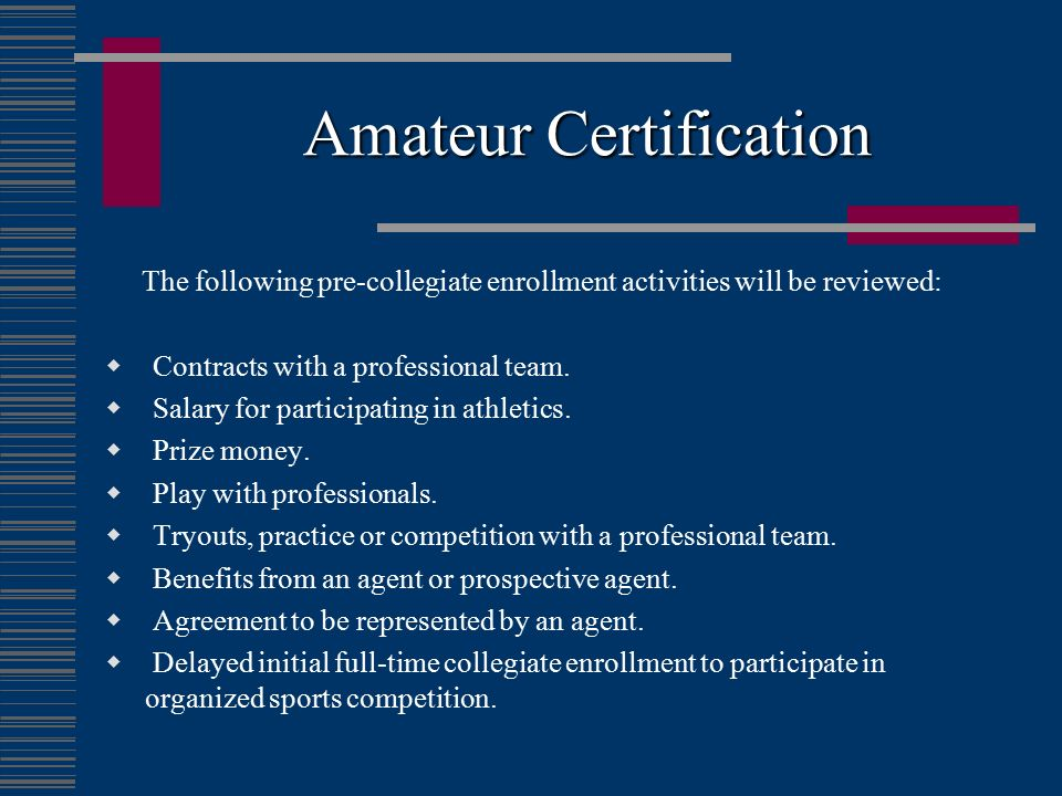 Amateur Certification
