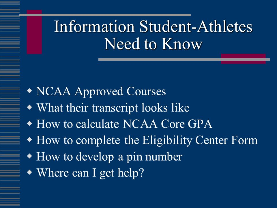 Information Student-Athletes Need to Know