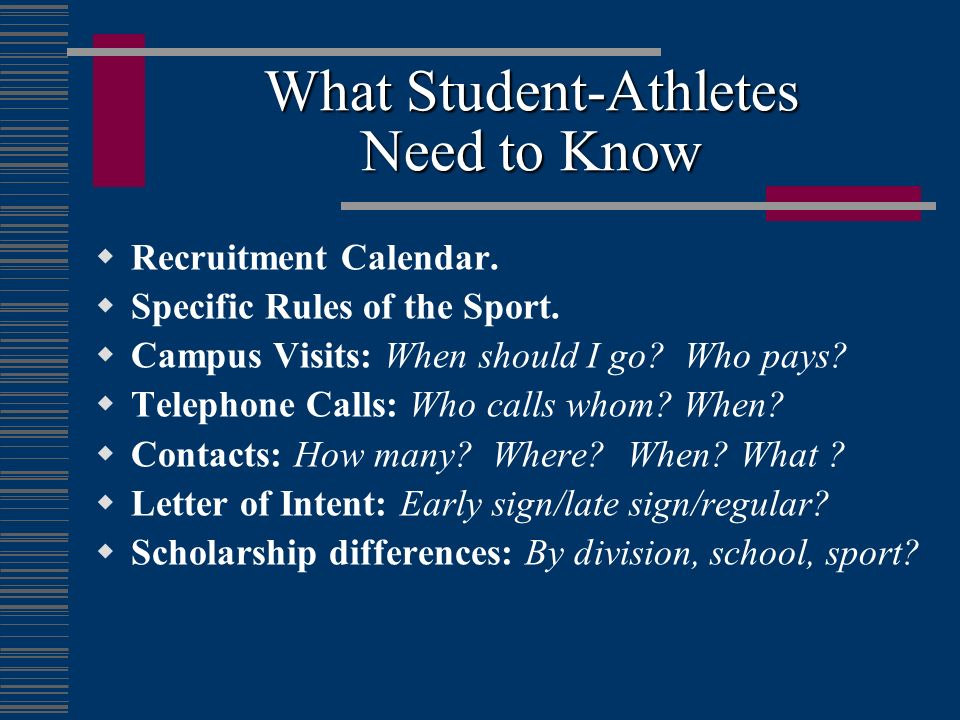 What Student-Athletes Need to Know