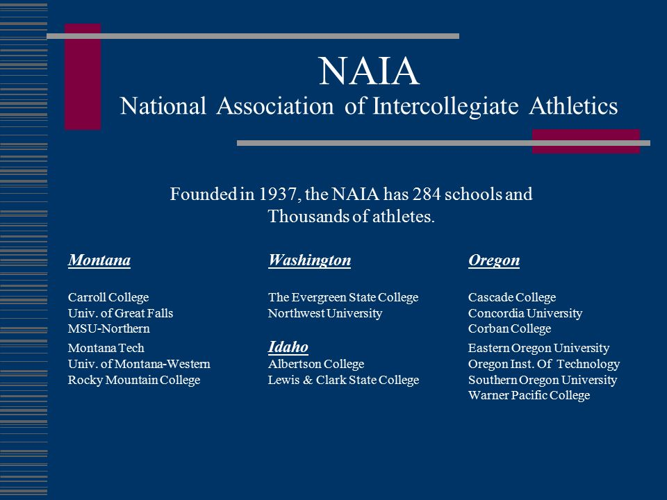 NAIA National Association of Intercollegiate Athletics