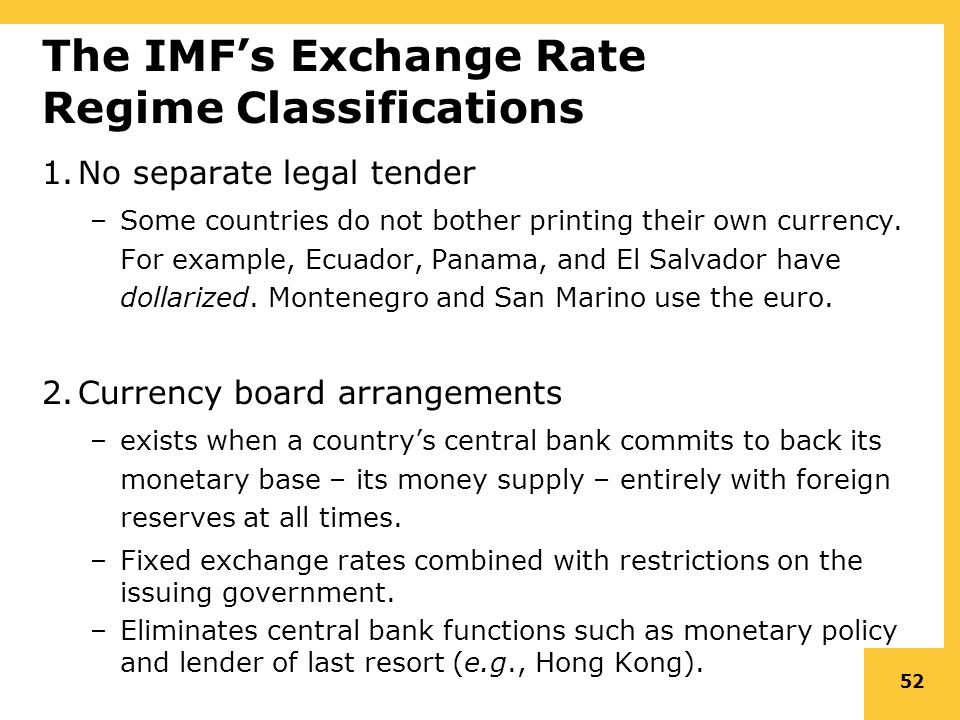 The Imf S Exchange Rate Regime Clifications