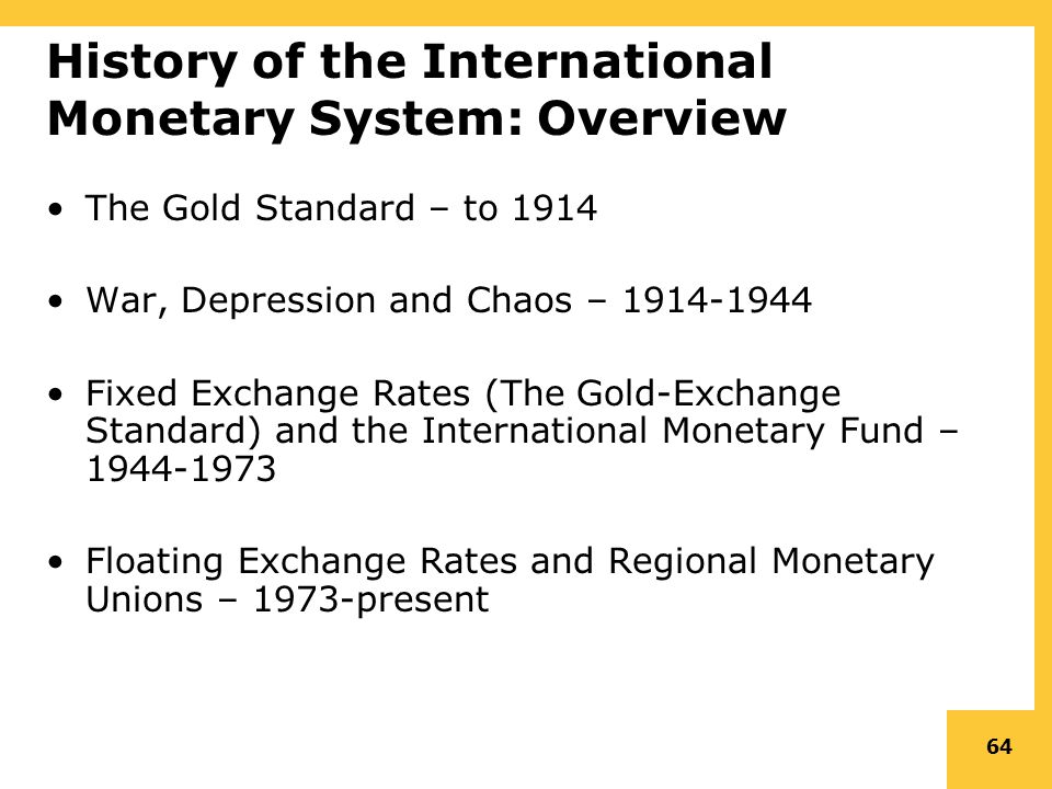 history of international monetary system