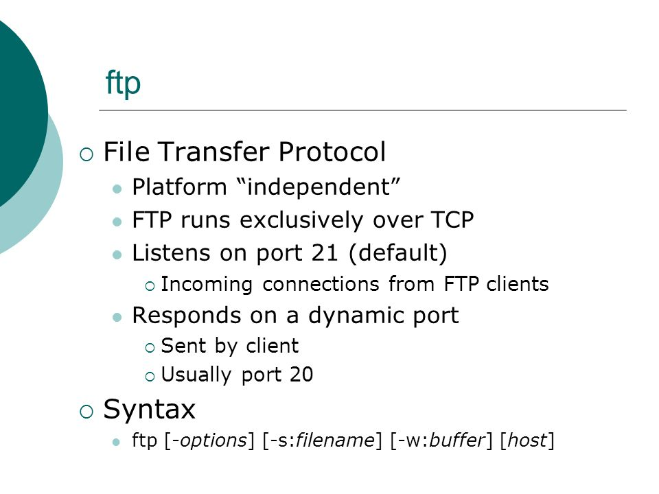 ftp File Transfer Protocol Syntax Platform independent