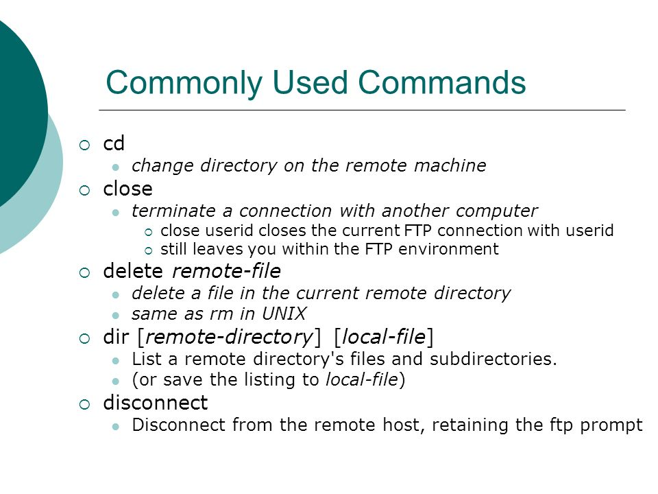 Commonly Used Commands