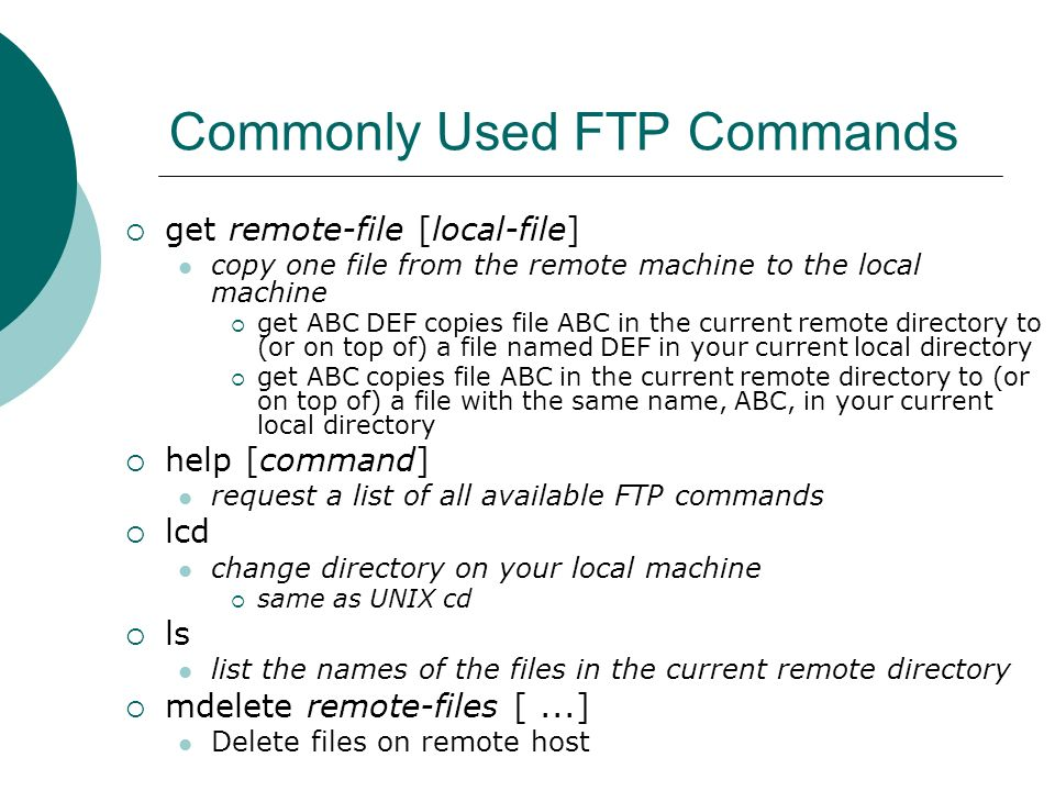 Commonly Used FTP Commands