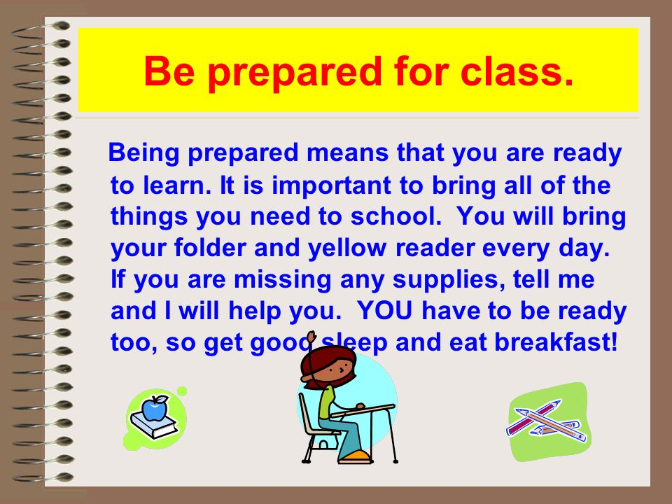 importance of being prepared for class