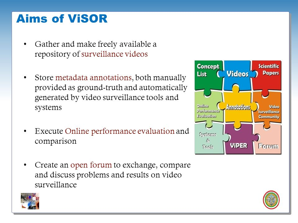 Aims of ViSOR Gather and make freely available a repository of surveillance videos.