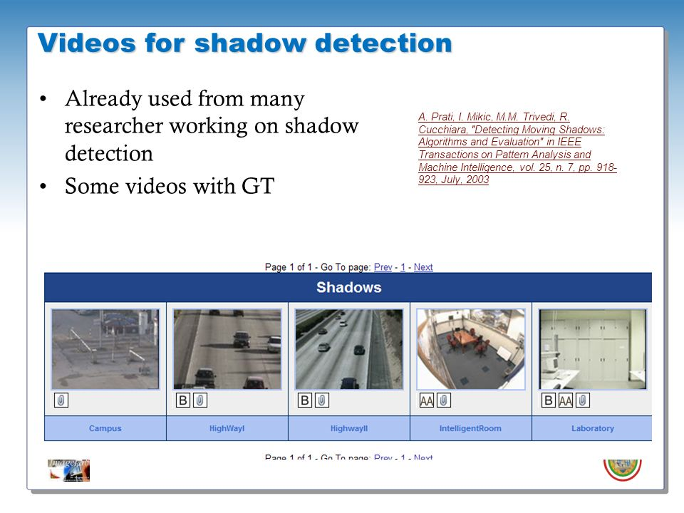 Videos for shadow detection