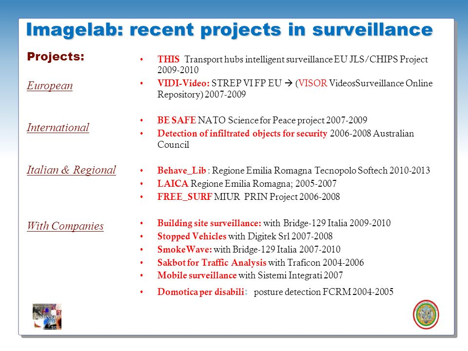 Imagelab: recent projects in surveillance