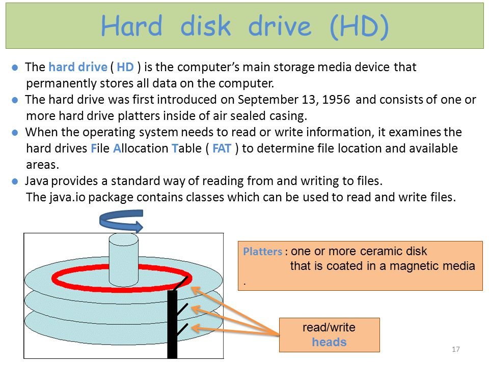 Hard disk drive (HD) ● The hard drive ( HD ) is the computer's main storage media device that. permanently stores all data on the computer.