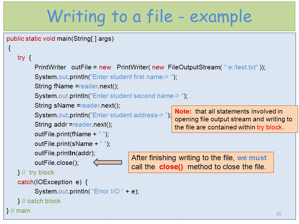 Writing to a file - example