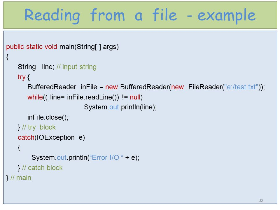 Reading from a file - example