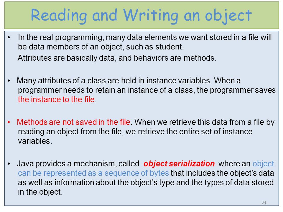 Reading and Writing an object