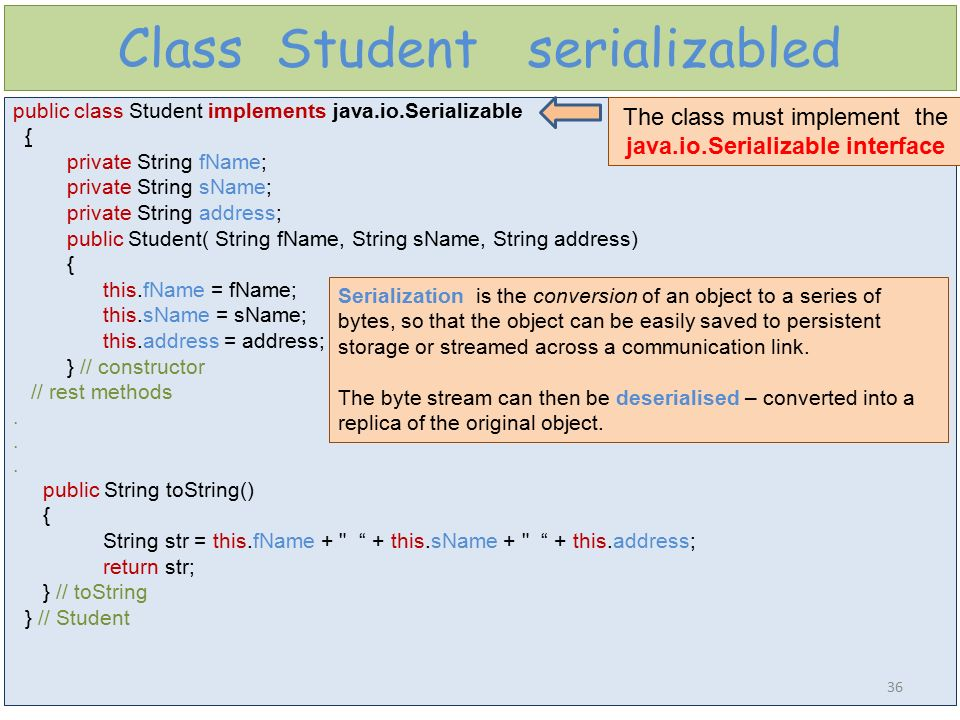 Class Student serializabled