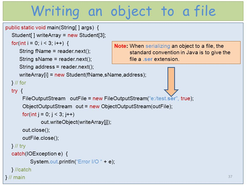 Writing an object to a file