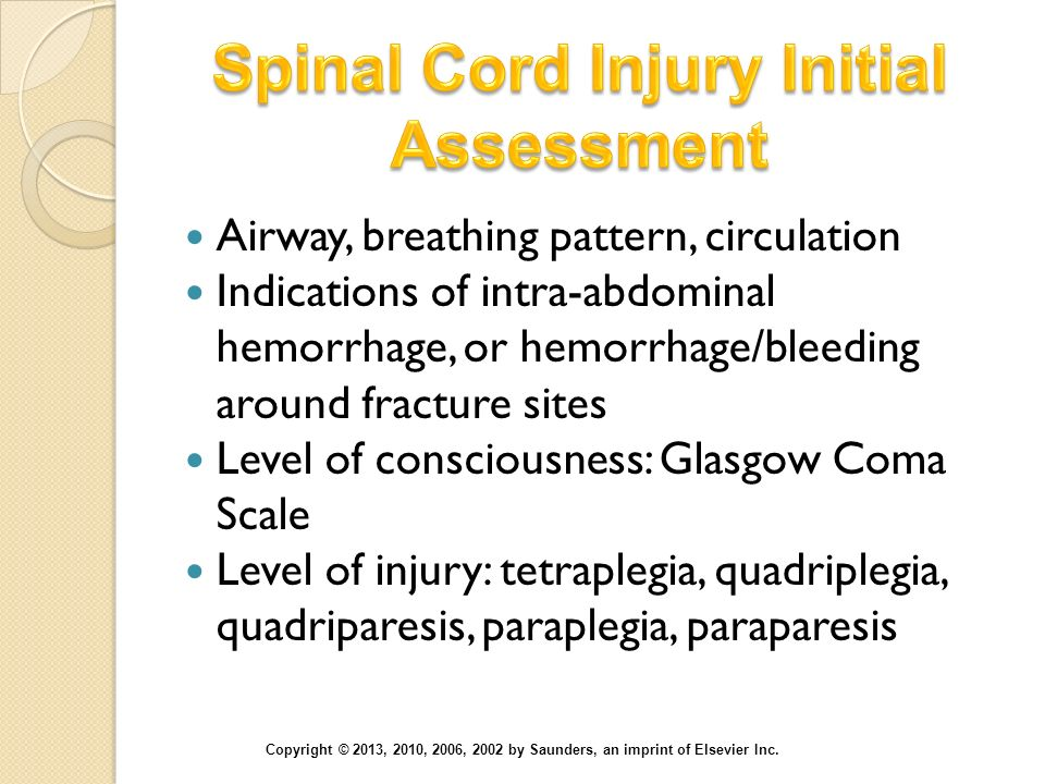 Spinal Cord Injury Initial Assessment