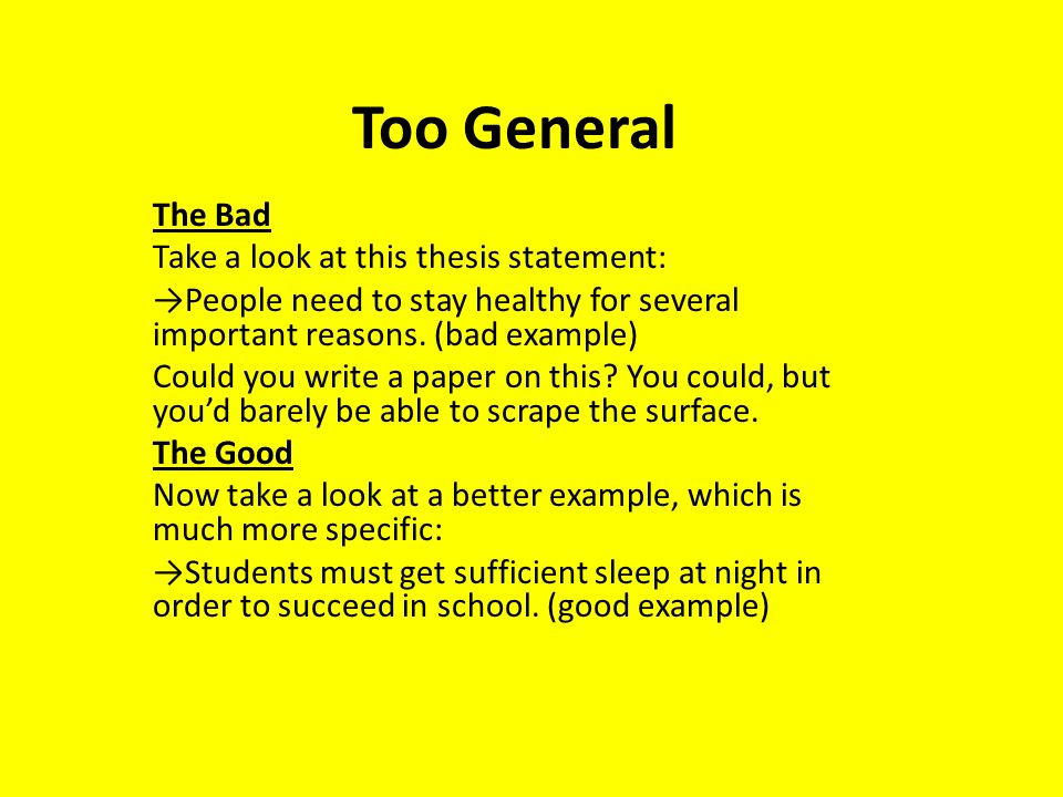 Good And Bad Thesis Statements