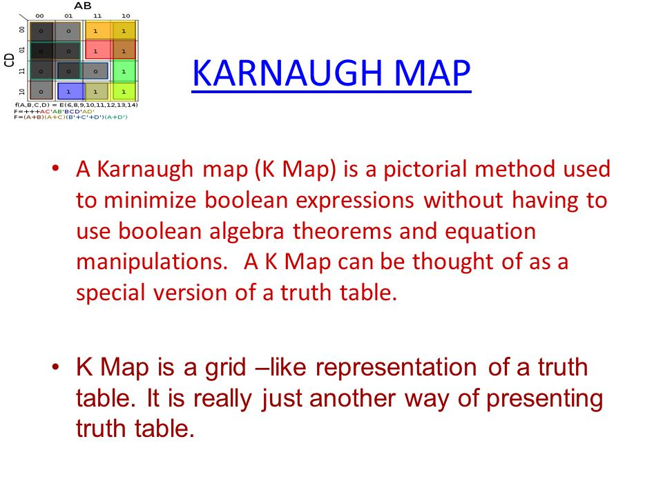 KARNAUGH MAP A Karnaugh map (K Map) is a pictorial method ... on map system, map line, map data, blood pressure, pulse pressure, map scale, map distance, human body temperature, map calculator, heart rate, map figure, intracranial pressure, map material, map formula, map model, map statistics, map symbol, map area, map table, map example, korotkoff sounds, map ratio, map math, pulmonary artery pressure, map pattern, map graph,