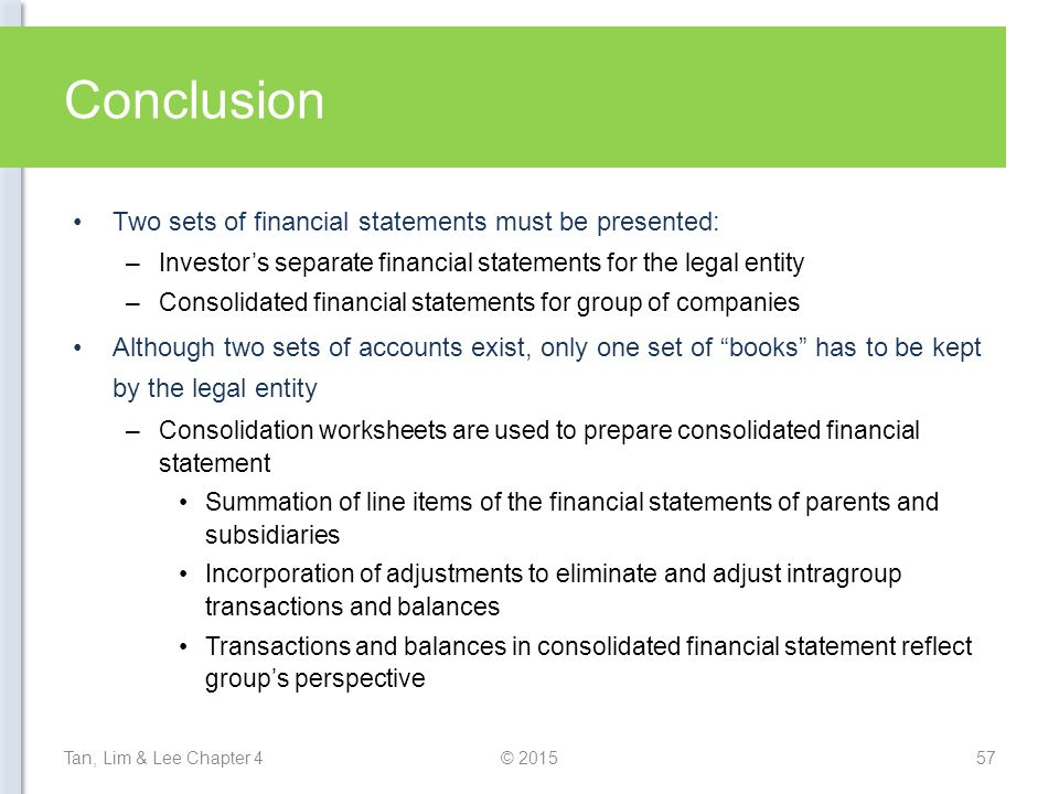 conclusion to financial statement 2 Financial statement analysis is a unique text it combines great academic work with numerous real-life examples to form a highly useful reference for equity investors, debt holders, and investors who straddle both asset classes conclusion 24 part two - the basic financial statements.