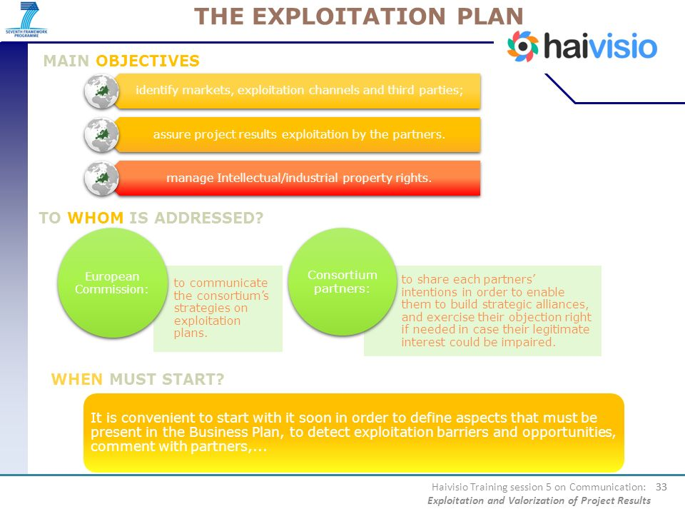 THE EXPLOITATION PLAN MAIN OBJECTIVES TO WHOM IS ADDRESSED