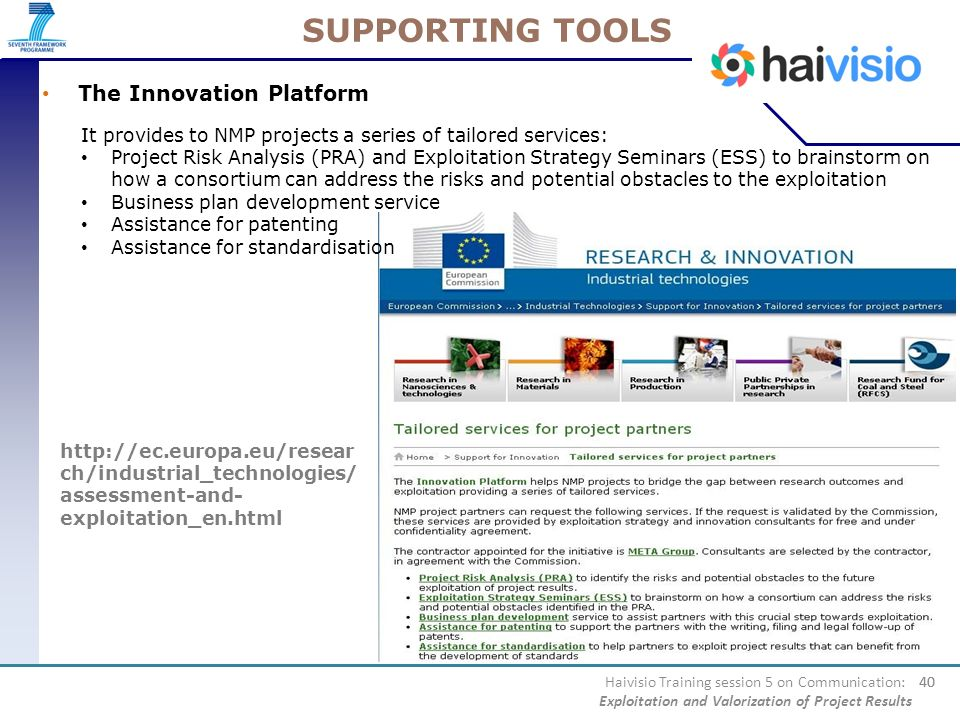 SUPPORTING TOOLS The Innovation Platform