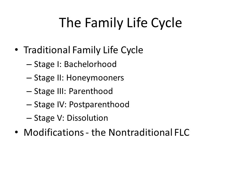 traditional family life cycle