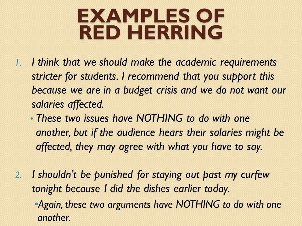 Examples of red herring