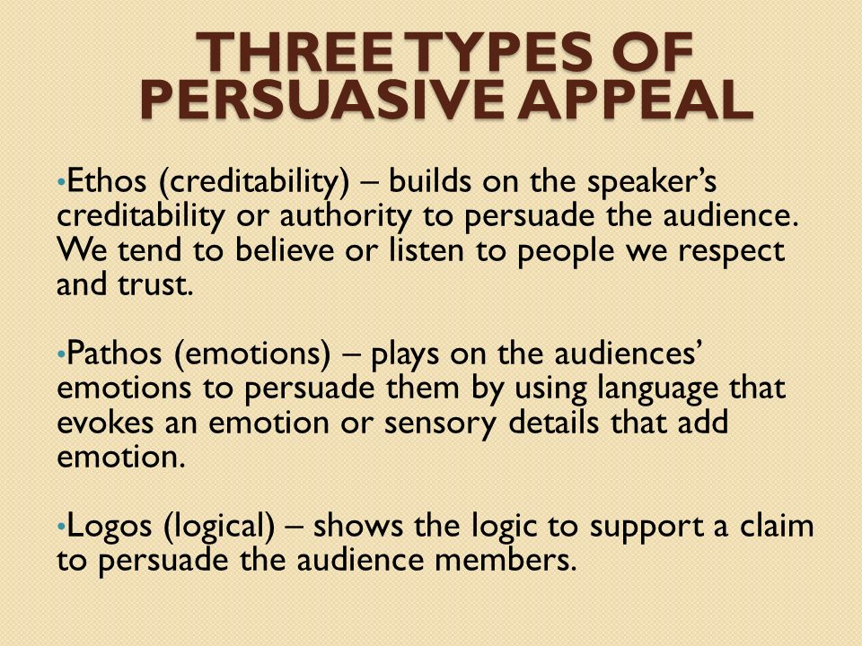 Three Types of Persuasive Appeal