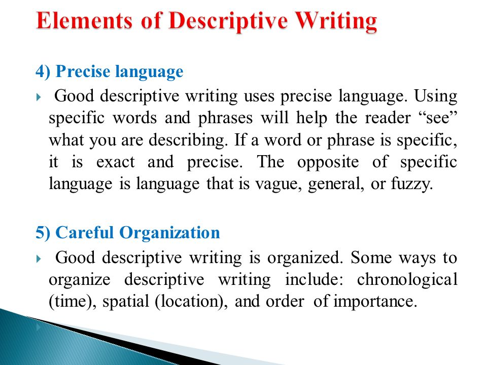 Descriptive Writing  Ppt Video Online Download Elements Of Descriptive Writing