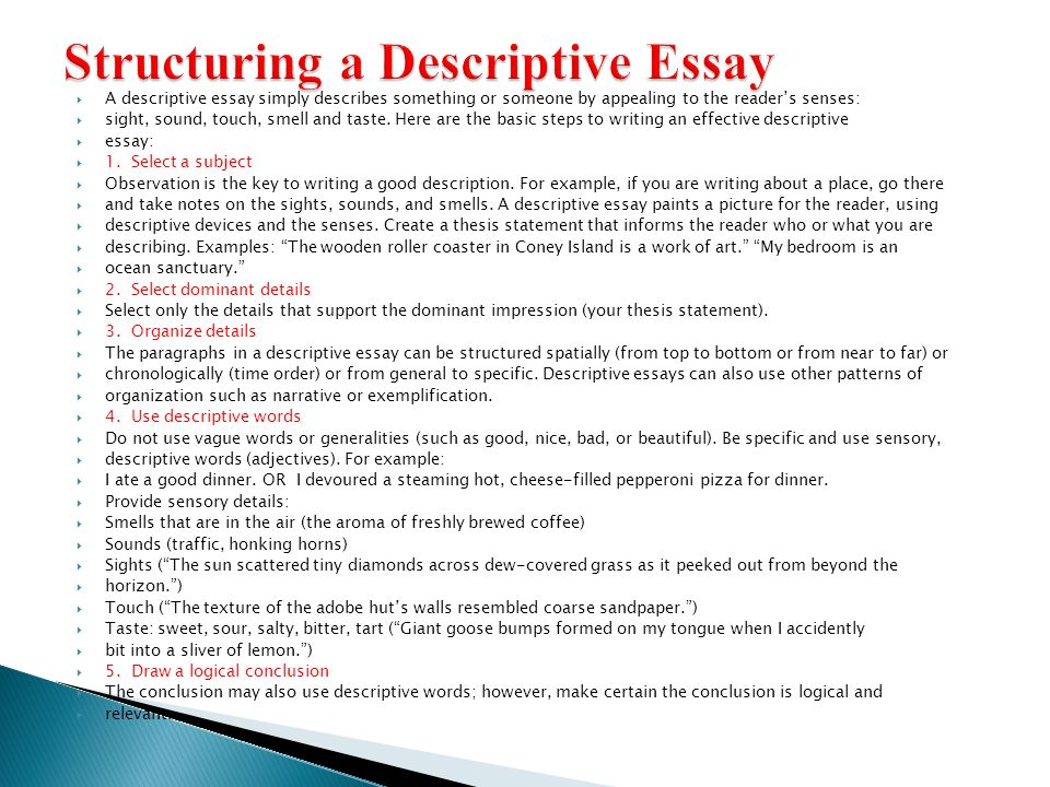 descriptive writing  ppt video online download structuring a descriptive essay