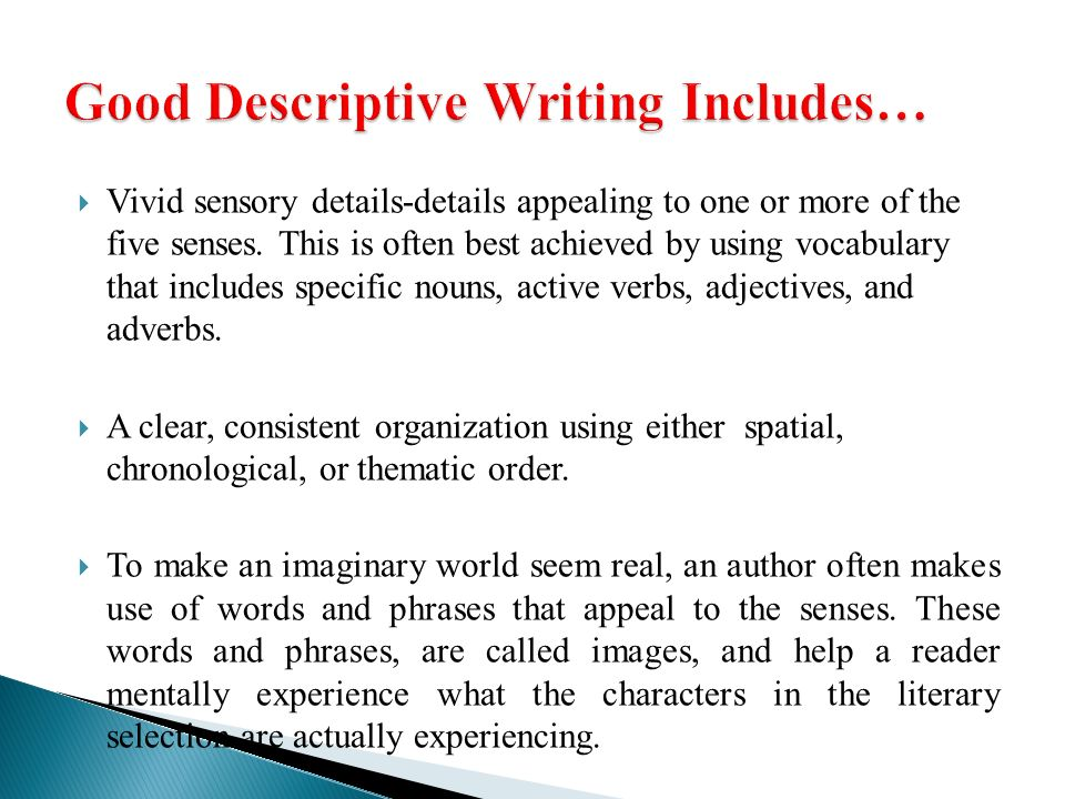words to use in descriptive writing