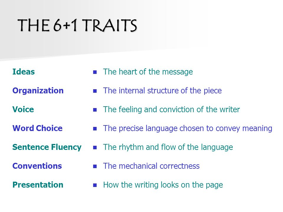 six traits of writing activities