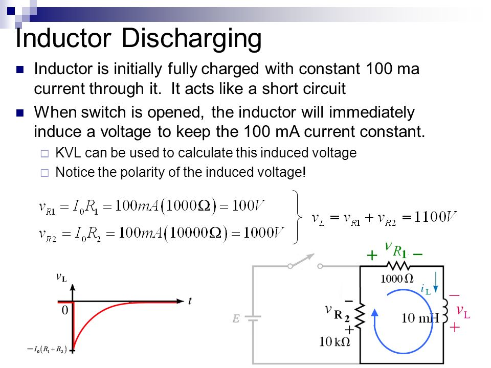 transient analysis of a resistor inductor rl Il (t ) i 0 (1 e tr1 / l ) e i0 r1 inductor charging as current il builds up the voltage across the r1 resistor increases inductor charging equations voltages and currents in a charging circuit change exponentially over time.