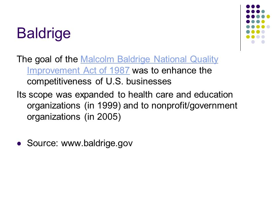malcolm baldrige national quality improvement act of 1987