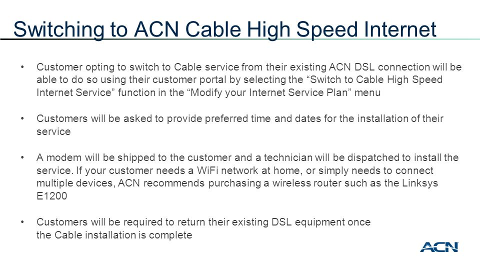 ACN High Speed Internet + Voice - ppt download