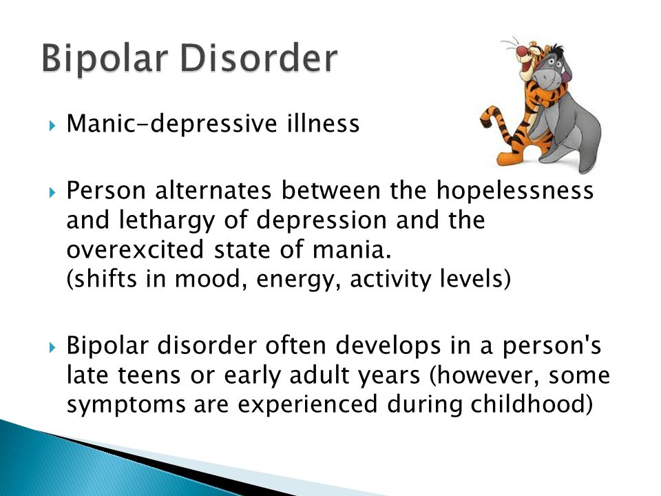 symptoms and treatments of manic depression There are many different symptoms of bipolar disorder, and their occurrence varies depending on a mood episode these symptoms may not be easy to recognize, since they're often disregarded as insignificant mood swings or misdiagnosed as some other type of mental disorder.
