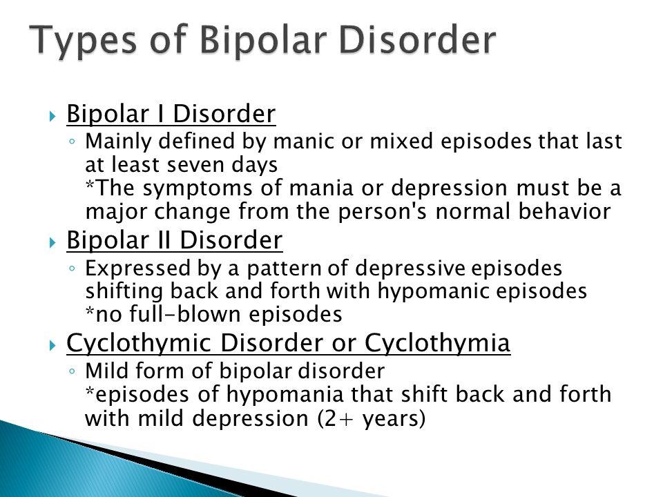 Types of Bipolar Disorder