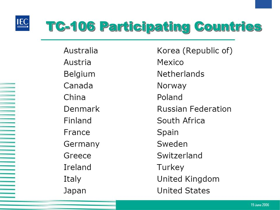 TC-106 Participating Countries