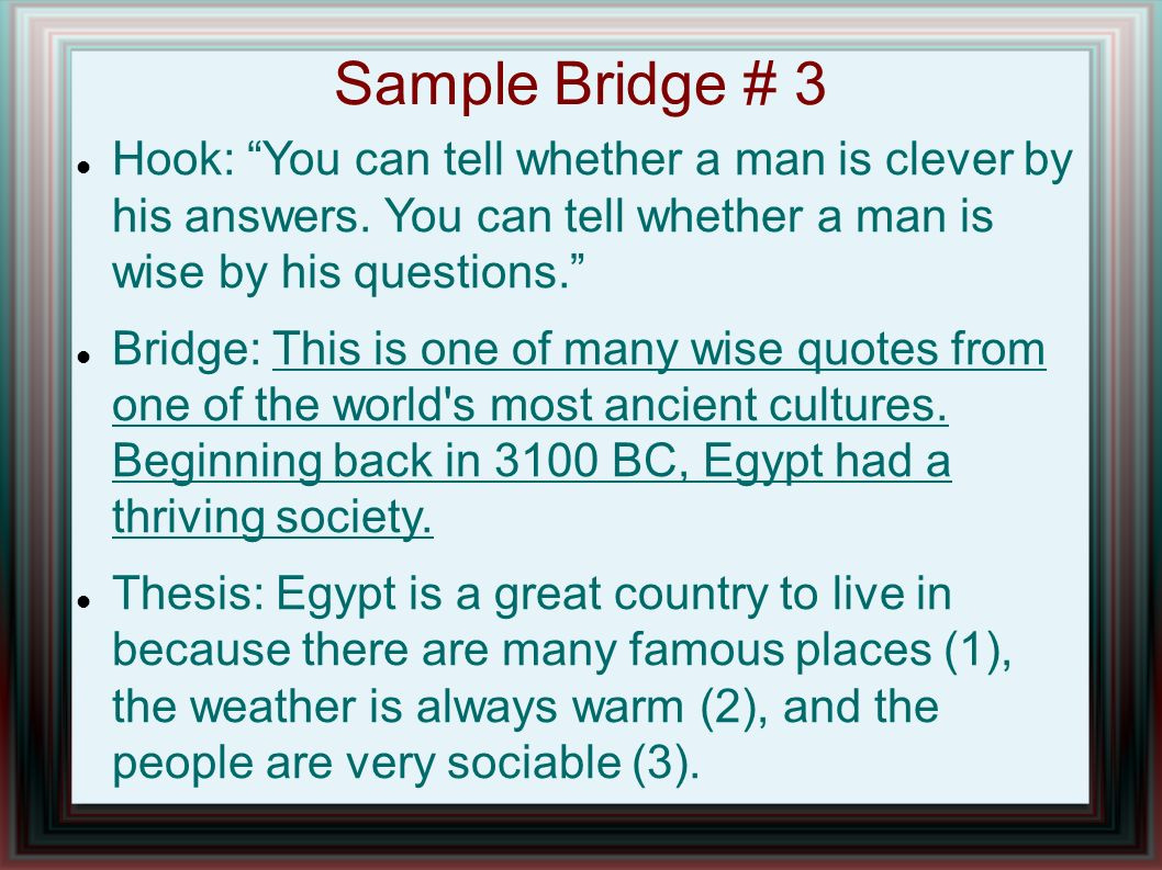 what is a bridge in essay writing