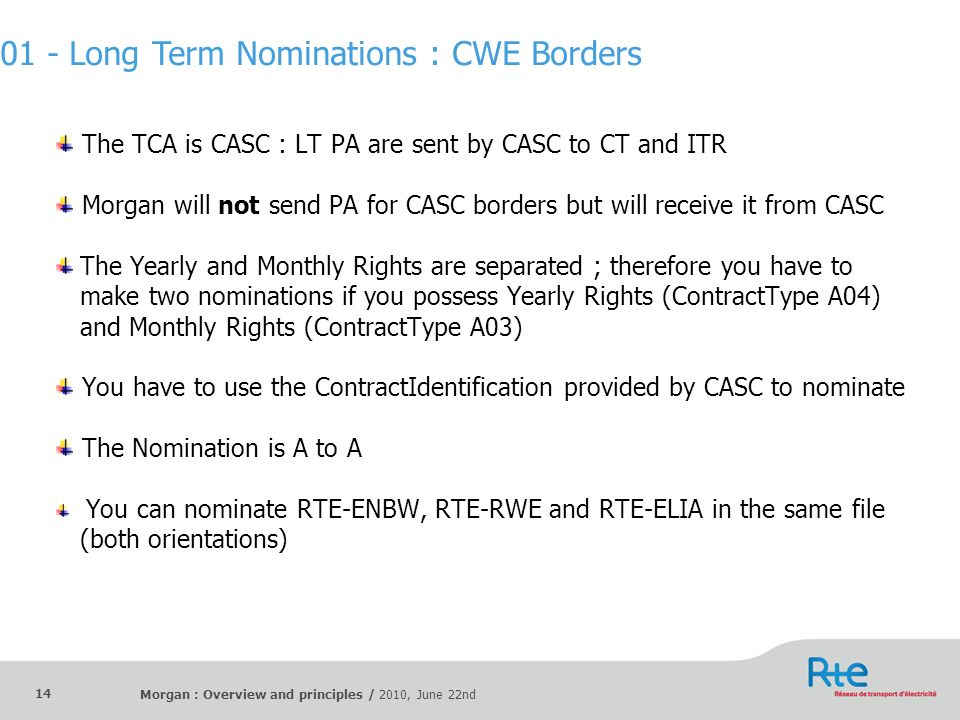 01 - Long Term Nominations : CWE Borders