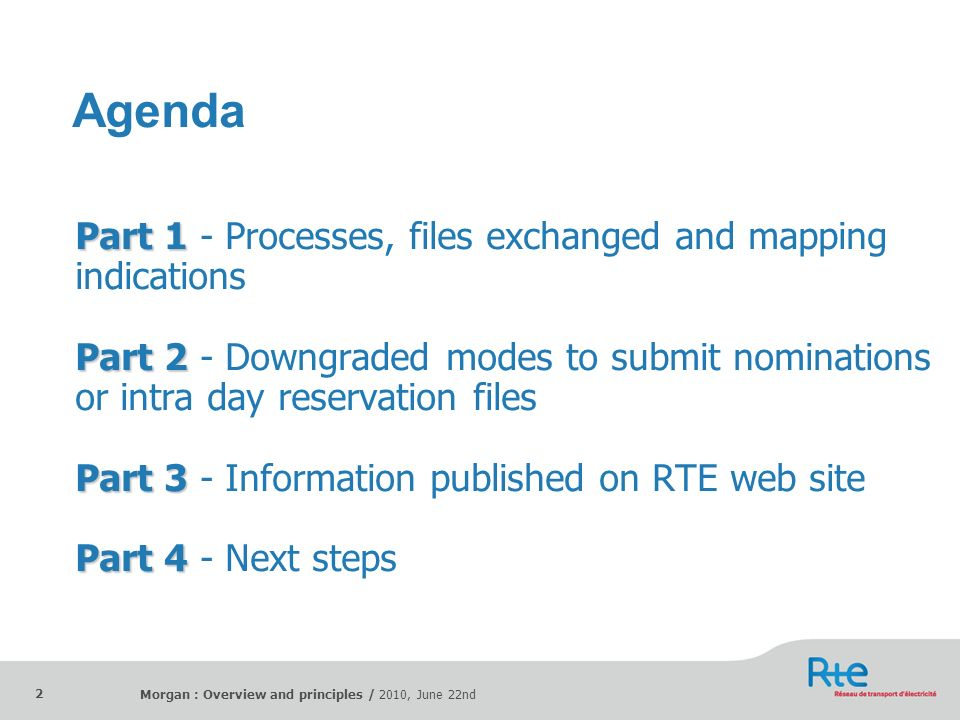Agenda Part 1 - Processes, files exchanged and mapping indications