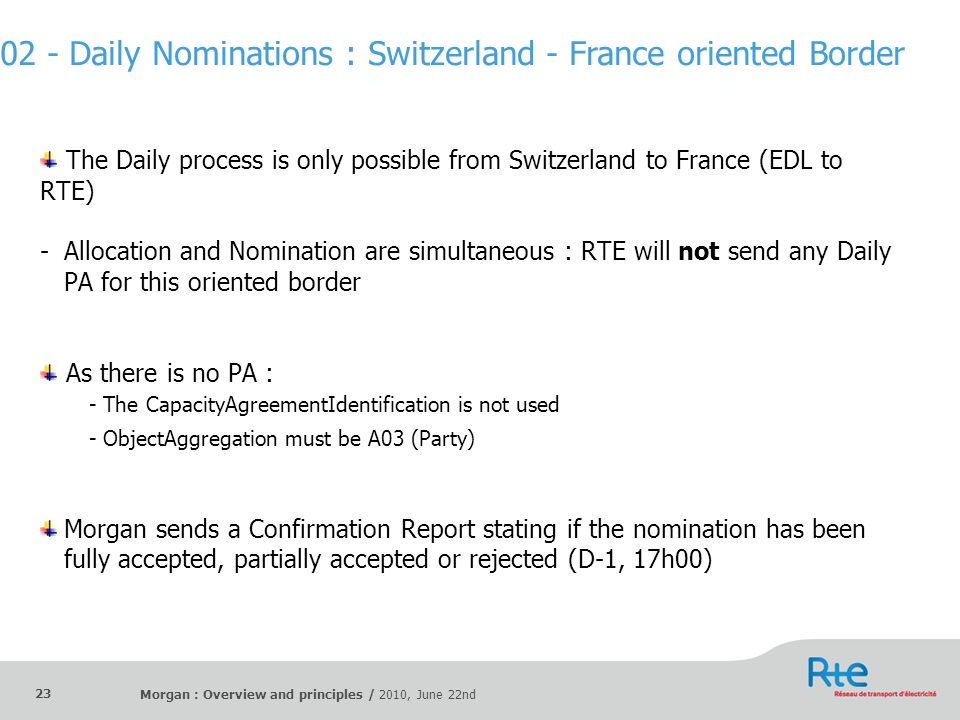 02 - Daily Nominations : Switzerland - France oriented Border