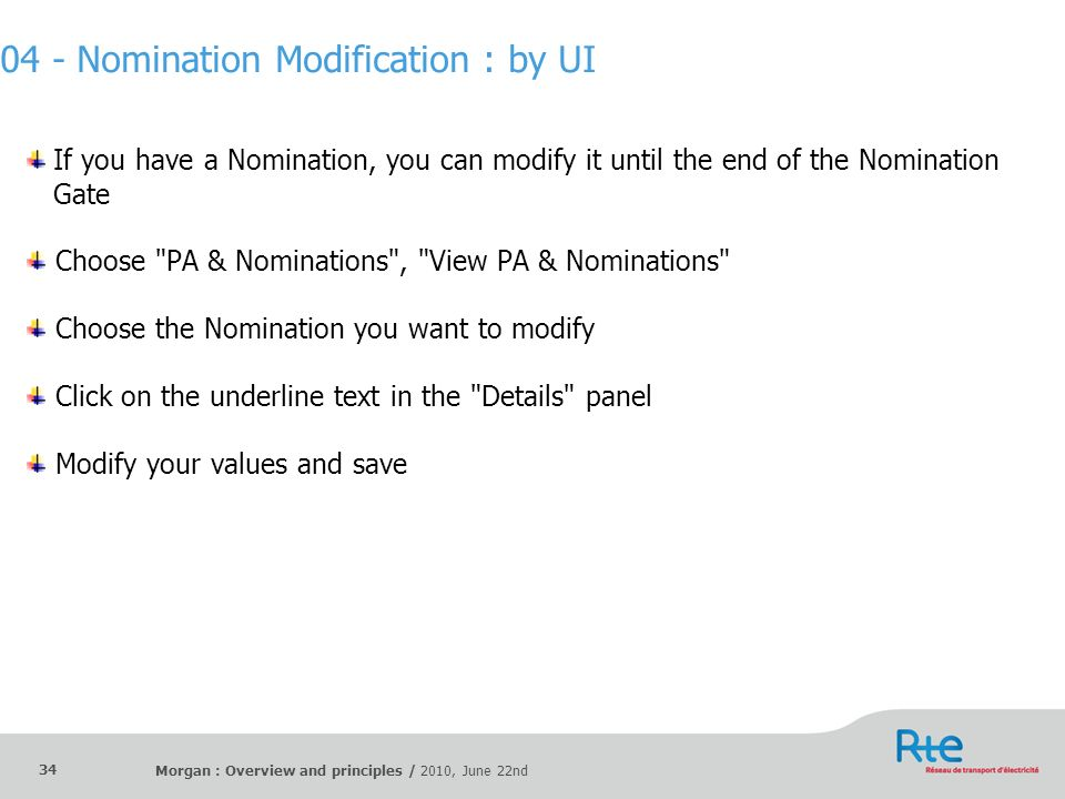 04 - Nomination Modification : by UI