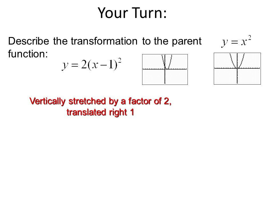 Vertically stretched by a factor of 2, translated right 1