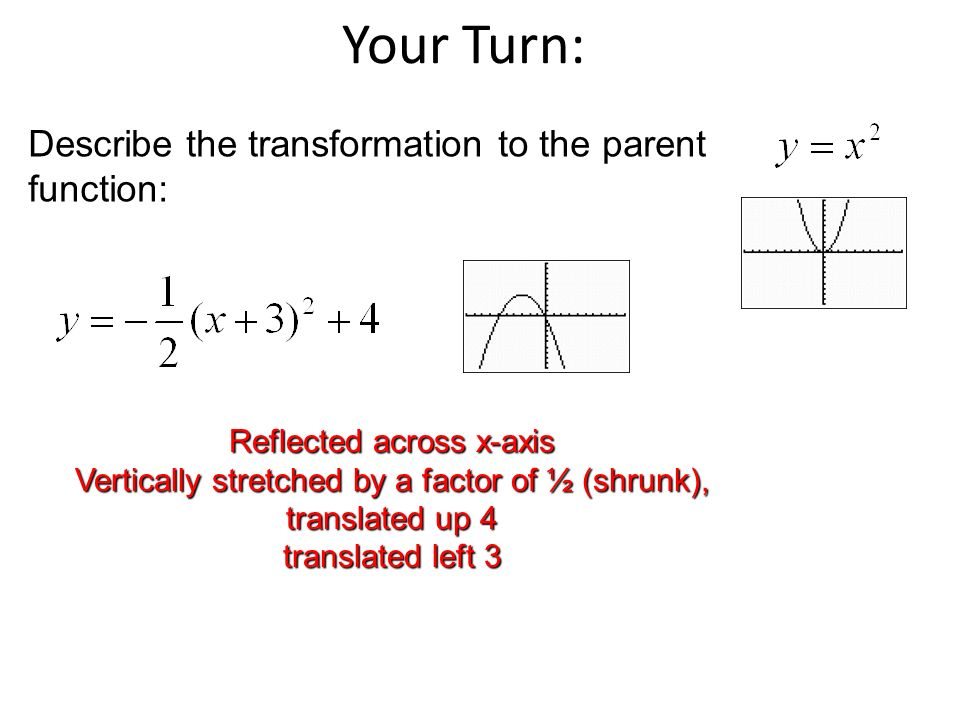 Your Turn: Describe the transformation to the parent function: